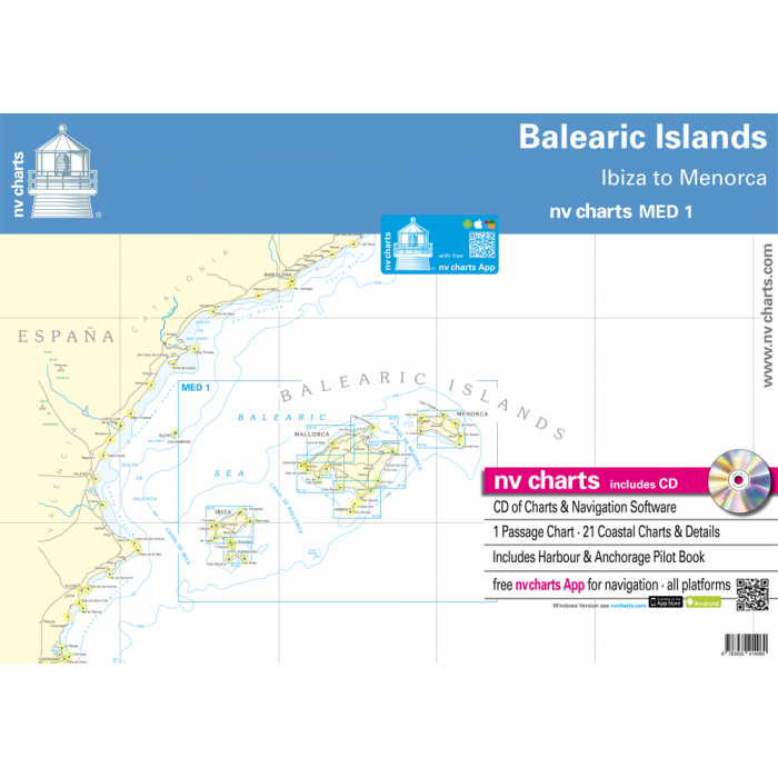 nv-charts MED1, Balearic Islands* Europe - Atlantic, Mediterranean, Paper+CD, 2009 nv-charts MED1, Balearic Islands* Europe - Atlantic, Mediterranean, Paper+CD, 2009