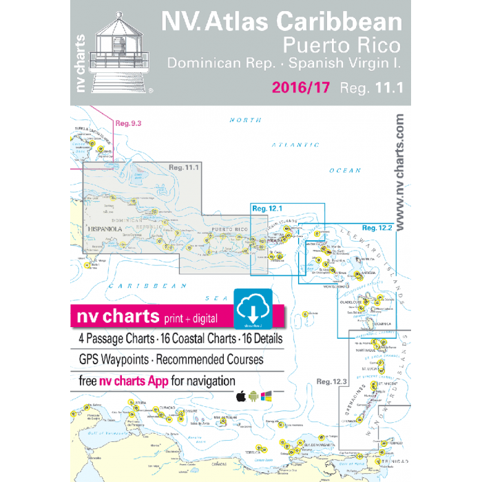 nv-charts Region 11.1, Puerto Rico and the US Virgin Islands* America - Bahamas, Caribbean, Paper+CD, 2008 nv-charts Region 11, Puerto Rico and the US Virgin Islands* America - Bahamas, Caribbean, Paper+CD, 2008